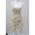 Apron cream white with flower dessin