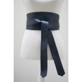 Leather cover belt metallic blue